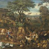 Carl Borromäus Andreas Ruthart (Werkstatt), 1630-1703, Zug der Tiere in die Arche Noah, Öl/Lwd., 90 x 112 cm, Schätzpreis 30.000 €