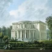 Carl Friedrich Stange, Landhaus Willem Brandt in Othmarschen von Axel Bundsen, Aquarell um 1825, SHMH, MHG