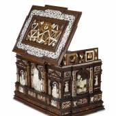 GEORG LAUE, KUNSTKAMMER LTD Court Renaissance Casket from Newbattle Abbey by the Nuremberg Master of Perspective, dated 1565  Various woods, engraved bone, mother of pearl, alabaster, etched and fire-gilt iron  35 cm x 53 cm x 36 cm