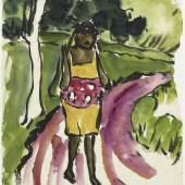 """Emil Nolde, """"Südseemädchen in Landschaft"""", 1913/14, Aquarell auf Papier, 48,3 x 34,5 cm, signiert: 'Nolde.' Thole Rotermund. Kunsthandel, Hamburg"""