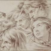 """Pierre, Jan-Baptiste Marie (1714 Paris 1789), 5 Männerköpfe unterschiedlichen Alters als """"Têtes d´expression"""", gebrannter Rötel, 204 x 337 mm, aufgezogen, Kunsthandel Ralph Rüdiger Haugwitz, Berlin"""
