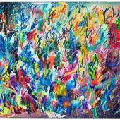 Christian Awe, dancing lines VII, 2018, Acryl und Ölkreide auf Leinwand, 140 x 160 cm, Courtesy Galerie Thomas Fuchs, Foto Bernd Borchardt