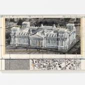 """Christo """"Wrapped Reichstag"""" 1995 Collage auf Karton auf Holz gezogen 36 x 56cm"""