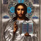 Christus Pantokrator mit Cloisonné-Email Oklad Russland, um 1900 (Ikone), Moskau, 1908-1917 Schätzpreis:4.500 - 5.500 EUR