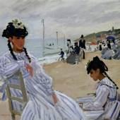 Claude Monet Am Strand von Trouville, 1870 Öl auf Leinwand Museé Marmottan Monet, Paris / The Bridgeman Art Librar