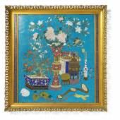 Cloisonné-Paneel China Qing-Dynastie | 2. H. 18. Jh.  Cloisonné auf Kupfer | 57 x 49cm Schätzpreis: 1.800 – 2.000 Euro