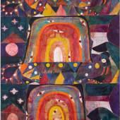 Alexander Tovborg, Bocca Baciata LVI, 2014, Acrylic and fabric collage on canvas, 310 x 195 cm, photo credit: Anders Sune Berg, Galleri Nicolai Wallner, Kopenhagen