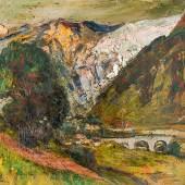 994 Communal, Joseph-Victor 1876 Châtelard-en-Bauges - 1962 Chambéry. Öl/Holz. Blick in das Val d'Isere mit Steinbrücke und Gehöften.  U.l. sign. 51 x 63 cm. R. Lit.: 1,2,5,13,14. (e6917002)800,-- EURO