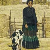 Conglin Cheng | Ziegenhirtin China | Datiert 1991 Öl auf Leinwand |  69 x 56,5cm Taxe: 8.000 – 10.000 Euro