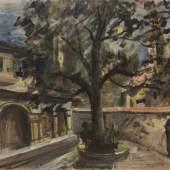 119001940 Lovis Corinth Klostergarten, 1917. Öl über Bleistift auf leinwandstrukturiertem Pa... Schätzpreis: € 60.000 - 80.000