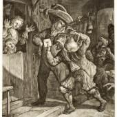 Cornelis Dusart (1660-1704), Die Lotterie von Groottenbroek,  Schabblatt, 25,2 × 19,6 cm © UMJ/Alte Galerie, Inv.-Nr. AG.K. 1760