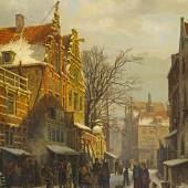 Cornelis Springer Winterliche Szene im Jüdischen Viertel in Amsterdam Öl auf Holz | 51,5 x 45cm Taxe: €35.000 – 50.000