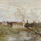 JEAN-BAPTISTE CAMILLE COROT  Ville d'Avray, un coin d'étang. 1865–70.  Öl auf Leinwand. 23,3 x 32,3 cm.  Schätzung: CHF 20 000/30 000  Ergebnis: CHF 200 000