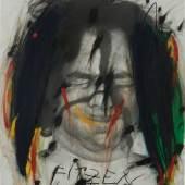 """Arnulf Rainer """"Fitzen (19 Knäuel)"""", 1970-1971, Öl und Pastell auf Silber-Gelatine-Abzug, Studiofoto mit Gesichtsbemalung aus 1968, 60,3 x 49,8 cm, signiert und betitelt"""