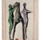 """Marino Marini, """"Giocolieri e cavallo"""", 1952, Tempera und Gouache auf Papier auf Leinwand, 62 x 42,6 cm. Foto: Galerie Francaise Gérard Schneider/ © Bildrecht, Wien 2018"""