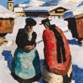 """Alfons Walde """"Kirchgang"""", um 1930, Öl auf Karton, 27 x 23 cm, links unten signiert  Bild: Kunsthandel Freller/© Bildrecht Wien, 2019"""