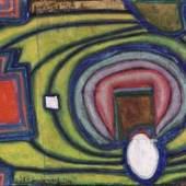 """05. Friedensreich Hundertwasser  """"Krankes Fenster - Survivant de Laszlo XV"""", 1964, Collage mit Polyvinyl auf Hanf,  teilweise Kreide-Polyvinyl-Grund, 14,5 cm x 22,5 cm,  signiert und datiert """"Friedensreich 1964"""" Bild: Schütz Fine Art"""