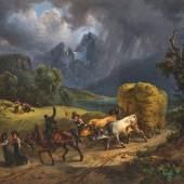 """06. Friedrich Gauerman,  """"Kornwagen vor dem Gewitter, dahinter der Watzmann"""", 1831, Öl auf Leinwand, 44 x 55 cm Foto: Kunsthandel Giese & Schweiger"""