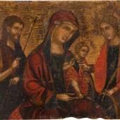 Gottesmutter, flankiert von Johannes dem Täufer und der Hl. Katharina, veneto-kretisch, frühes 16. Jahrhundert, 26 x 31 cm Foto: Brenske Gallery - Dr. Stefan Brenske