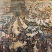 """Oskar Laske """"Jahrmarkt des Lebens"""", Opus 123, 1936, Öl und Tempera auf Leinwand, 150 x 140 cm Bild: Kunsthandel Freller"""