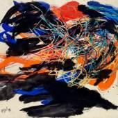 """Karel Appel, """"Petrified Forest"""", 1961, Mischtechnik auf festem Papier, 90 x 120 cm, signiert und datiert Foto: Kolhammer & Mahringer Fine Arts/ © Bildrecht, Wien 2018"""