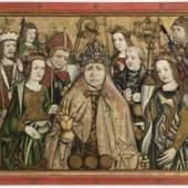 """07. Predella  """"Die 14 Nothelfer"""", Südtirol um 1480, Öl, Gold, Holz, 51,5 x 94 cm Bild: Kunsthandel Runge"""
