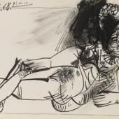 """Pablo Picasso """"Femme nue couchée"""", 1968, aquarellierte Tusche und Kohle auf Papier, 23,5 x 32 cm, oben links signiert und datiert  Foto: Kolhammer & Mahringer / © Succession Picasso/Bildrecht Wien, 2020"""