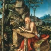 Lucas Cranach der Ältere, Heiliger Hieronymus in einer Landschaft, um 1515 Malerei auf Holz, 68 × 57,5 cm, Sammlung Peréz Simón, Mexico, Foto: Arturo Piera