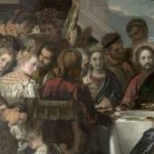 Paolo Veronese, Die Hochzeit zu Kana, um 1571 Öl auf Leinwand, 207 x 457 cm, Gal.-Nr. 226, Detail: Jesus, Maria, das Brautpaar, Hochzeitsgäste, Musiker und Diener