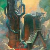 """Stahlwerk"""", um 1930, Öl auf Holz, 174 x 118,8 cm,  verso beschriftet: gemalt von Paul Kirnig 1930-1935 Bild: Kunsthandel Widder, Wien"""