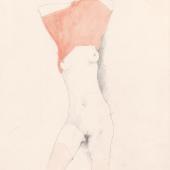Peter Schate - Akt mit rotem Hemd, 1973, Bleistift und Aquarell auf Papier, 20,5 x 15 cm