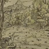 Unbekannter Stecher (Niederländisch), Das Feld hat Augen, der Wald hat Ohren, 1546, Holzschnitt, koloriert © Staatliche Museen zu Berlin, Kupferstichkabinett, Foto: Jörg Anders