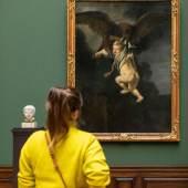 """Rembrandts """"Ganymed in den Fängen des Adlers"""" und Hendrick de Keysers """"Weinendes Kind"""" im Rembrandt-Saal Gemäldegalerie Alte Meister und Skulpturensammlung bis 1800  © Staatliche Kunstsammlungen Dresden, Foto: David Pinzer"""