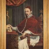 Guido Ubaldo Abbatini, Papst Alexander VII. mit Berninis Totenkopf, 1655/56 Öl auf Leinwand Dank sorgfältiger Recherchen © Kunstsammlung des Souveränen Malteser-Ritter-Ordens, Rom (Sovereign Order of Malta - Grand Magistry), Foto: Nicusor Floroaica