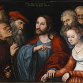 Lucas Cranach der Ältere, Christus und die Ehebrecherin, 1532, Malerei auf Lindenholz, 82,5 × 121 cm, Szépművészeti Múzeum / Museum of Fine Arts Budapest, 2016/ Foto: Dénes Józsa