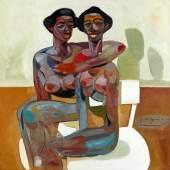 Tesfaye Urgessa - Back to the future 2, 2020, Öl auf Leinwand, 100 x 100 cm