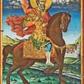 Ikone des Hl. Menas, Bulgarien, 19. Jh.