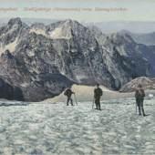 Dachsteingebiet, Stuhlgebirge vom Gosaugletscher, postalisch gelaufen 1917, Sammlung Kubinzky
