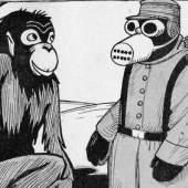 Die Entwicklung der Menschheit. Vom Menschenaffen zum Affenmenschen  Abbildung aus De Notenkraker, 1915, Niederlande, Grafik: Albert Hahn