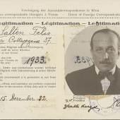 Felix Saltens Presseausweis für das Jahr 1933 © Wienbibliothek im Rathaus