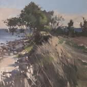 Lars Möller, Staberhuk, Strand, 2018, Öl auf Leinwand, 90 x 70 cm