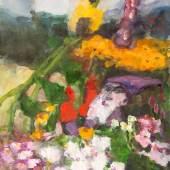 Klaus Fussmann - Garten mit Zwerg, 2008, Gouache, Kohle, Aquarell auf Papier, 73 x 55 cm