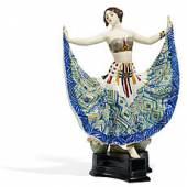 Ruth Friedrich Goldscheider   Wien   Um 1925   Entwurf Rosé   Um 1911/12 Keramik mit farbigem Unterglasurdekor   Höhe 53cm Taxe: 3.500 – 5.000 Euro