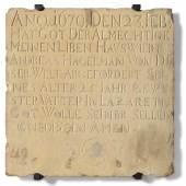 Am 23. Februar 1679 starb Andreas Hagelman 25jährig in einem Lazarett, wie diese Grabplatte unbekannter Herkunft berichtet. Er könnte ein Pestopfer gewesen sein. Wien Museum