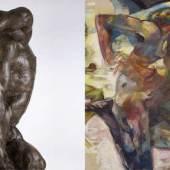 """Alfred Hrdlicka, """"Orpheus II"""", 1963 (Detail), Bronze, Neue Galerie Graz, UMJ, Foto: Universalmuseum Joanneum/N. Lackner, © Alfred Hrdlicka-Archiv, Wien: www.alfred-hrdlicka.com   Fritz Martinz, """"Läuferbild"""", 1968 (Detail), Dorothea Martinz, © Bildrecht, Wien, 2018, Foto: Thomas Mayr"""