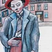 """Ida Maly, """"Trübe Ahnungen (Selbstportrait)"""", 1928-30,  Aquarell auf Transparentpapier, 29,5 x 21 cm, Neue Galerie Graz, Foto: Universalmuseum Joanneum/N. Lackner"""