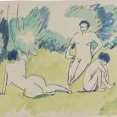 """<span class=""""pic-src"""">Ernst Ludwig Kirchner, Drei Akte im Grünen, 1911, Bleistift; Aquarell; Papier (elfenbeinfarben), 27,5x 33,8cm, Staatsgalerie Stuttgart, Graphische Sammlung </span>"""