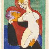 Ernst Ludwig Kirchner, Liebespaar (Die Hembusse), 1932, Farbholzschnitt in Schwarz, Dunkelblau, Grün, Rot, Dunkelocker, Rosa