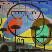 Hans Kuhn - Ohne Titel, 1970, Tempera/Stuck auf Leinwand, 85 x 100 cm