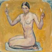 Kniender Akt auf gelbem Grund, Cuno Amiet, 1913, Stiftung Im Obersteg Depositum im Kunstmuseum Basel 2004, Foto: Martin P. Bühler